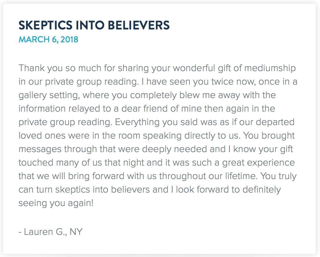 Testimonial from  Drew Cali's  website.