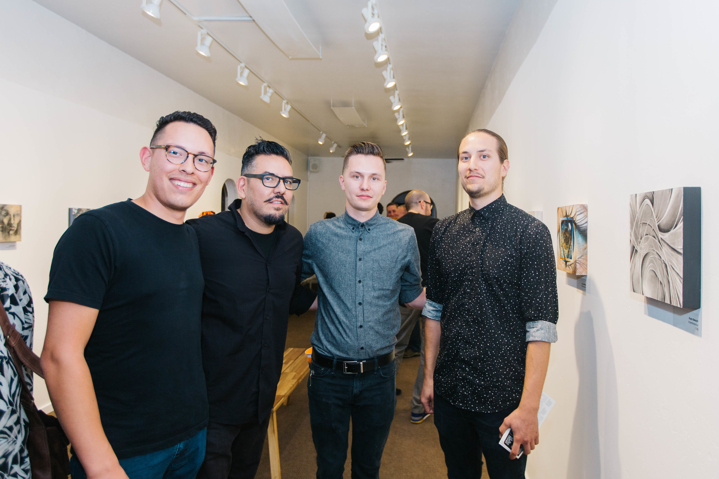 Artist Collin Williams with gallery owners Joseph Gonzalez, Regan Jericho, and Christian Uriah.