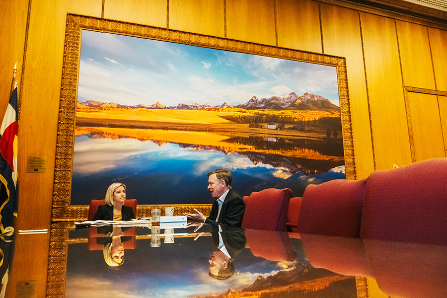 The photograph on the wall in the governor's office was gifted to the state by well-known Colorado photographer and environmentalist John Fielder, who presented the governor with a five-page letter just before his inauguration, stating the many reasons Hickenlooper needed to be a pro-environment governor.    He keeps the letter in his desk at all times.    The photo was taken at Last Dollar Ranch, Sneffels Range,San Juan Mountains, near Ridgway, Colorado.