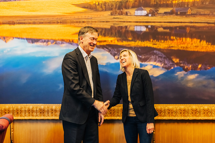 Governor Hickenlooper and S+B Publisher Robin Brown.jpg