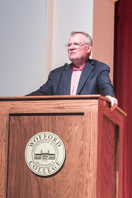 Edward B. Wile, Mean to Meaningful Book Introduction Event at Wofford College in Leonard Auditorium