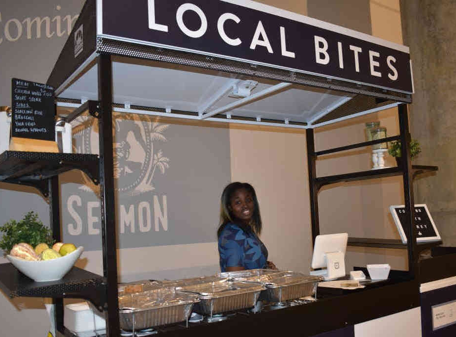Cooking with Corey's Brandi Covington at the Brooklyn Navy Yard's new Local Bites kiosk inside Building 77.