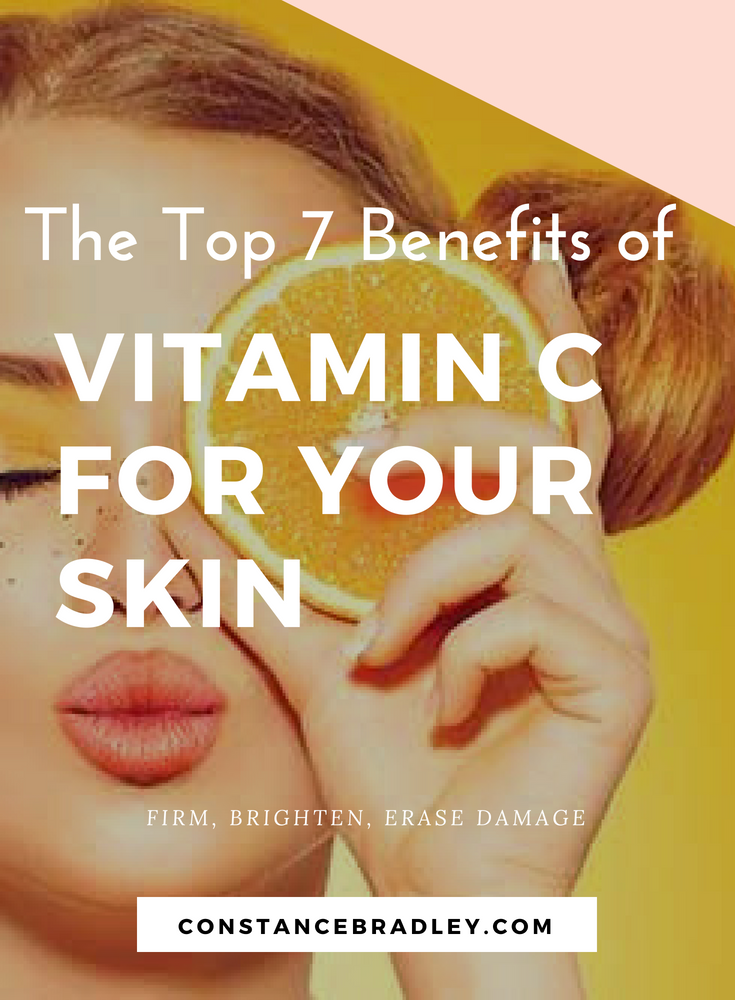 Vitamin C skincare is amazing for firm skin, bright skin, and to erase age spots. Learn how to use vitaminC serum for the face to have a naturally beautiful complexion #skincare #antiaging #vitaminc