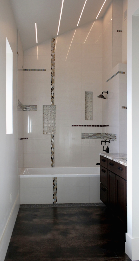 MASTER BATH - WITH ARCHITECT DESIGNED LIGHTING AND TILE PATTERN