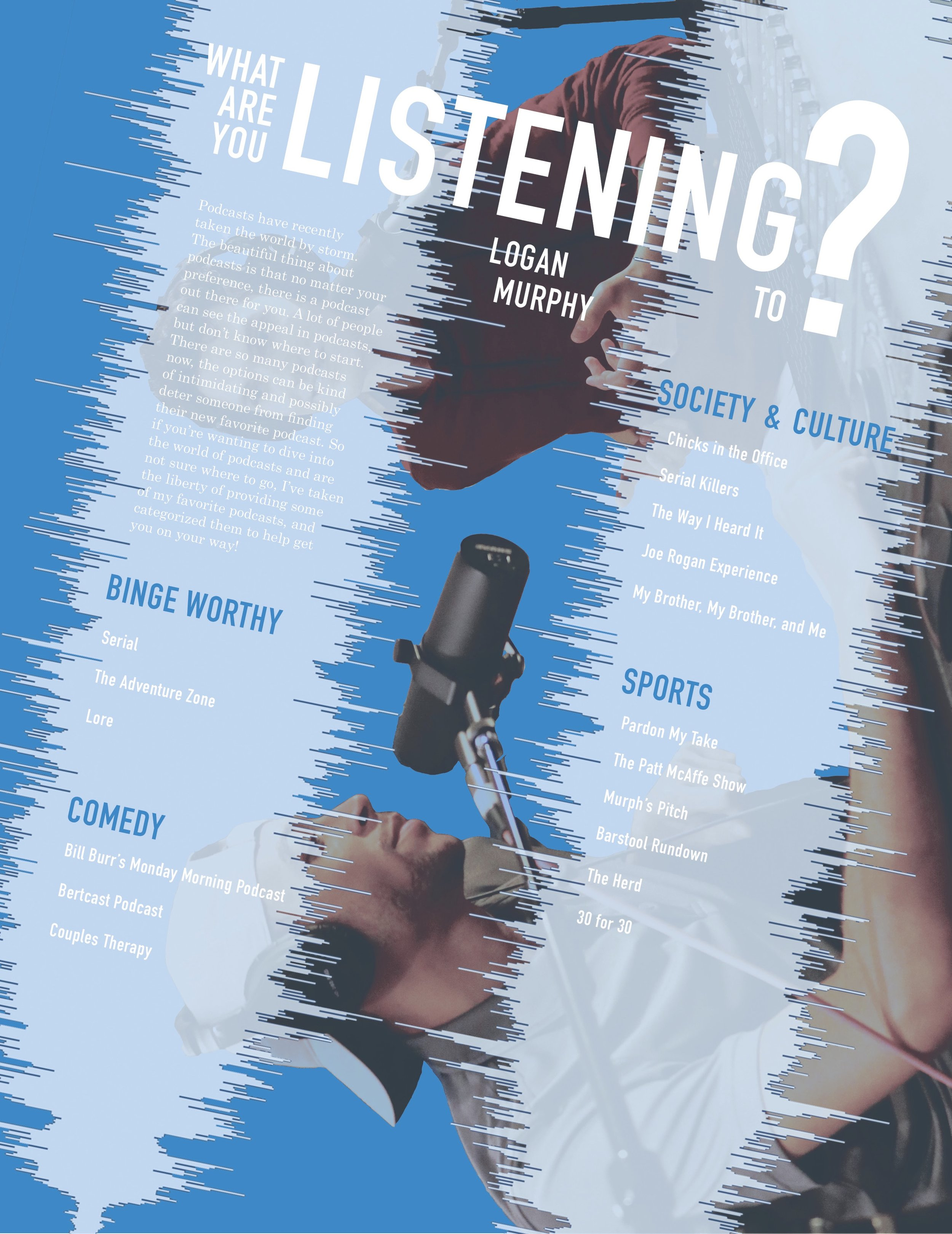 """What Are You Listening To?"" Greenville University VISTA Magazine article design"