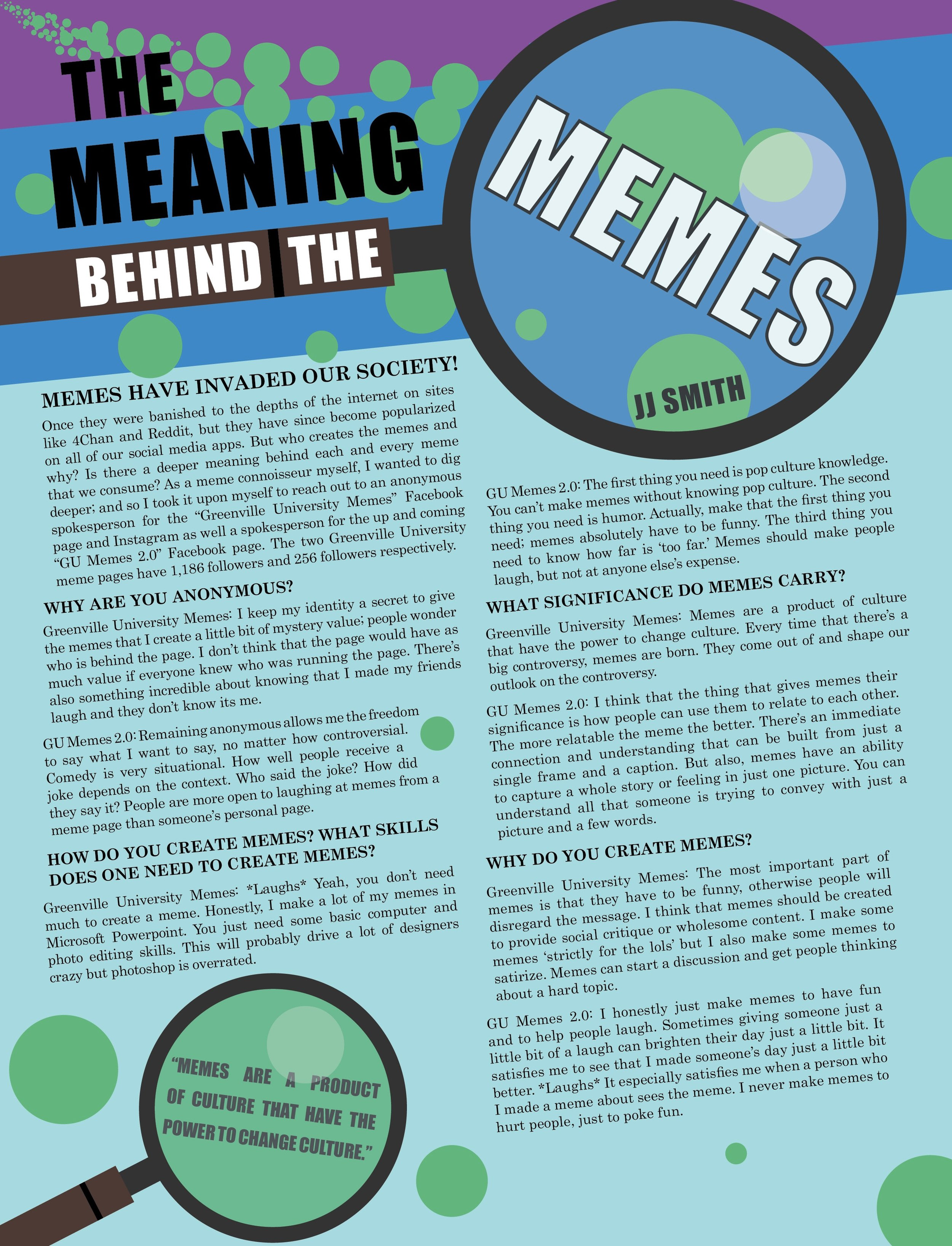 """The Meaning Behind the Memes"" Greenville University VISTA Magazine article design"