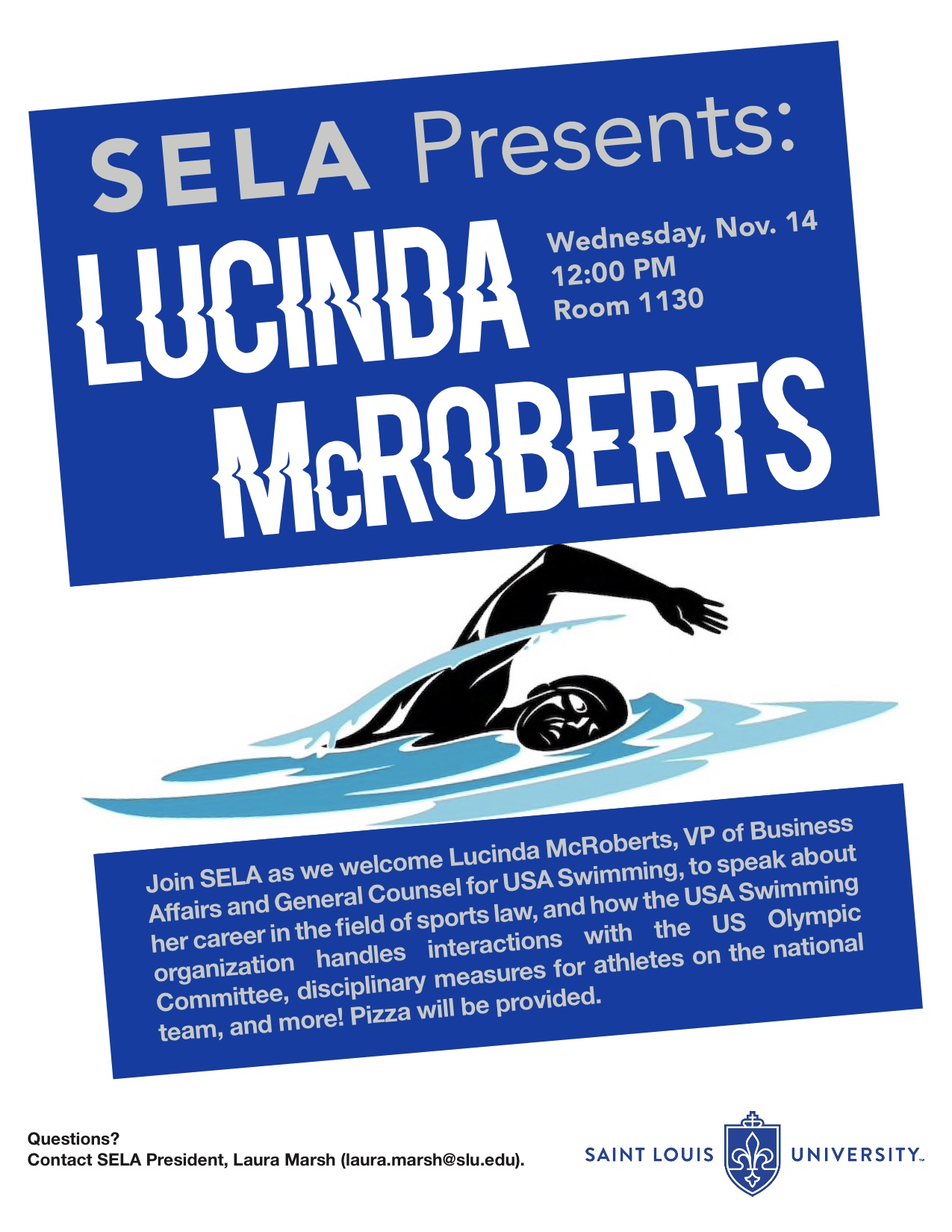 St. Louis University School of Law - Poster for Lucinda McRoberts event, November 2018