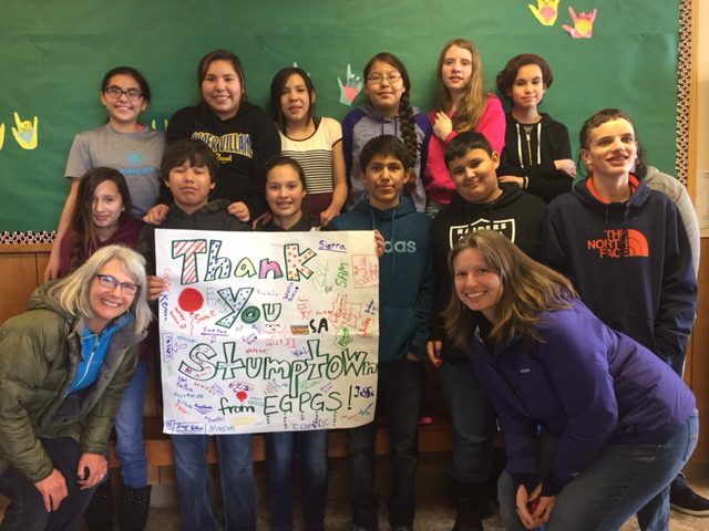 Students of East Glacier Park School thanking us for donations of art supplies for classrooms.
