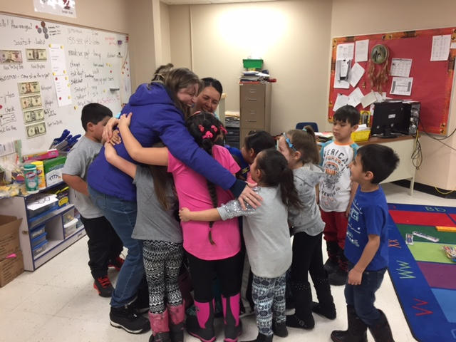 Mrs. Skunkcap's thanking Sue Cox of Blackfeet at HeART for the donated art supplies.