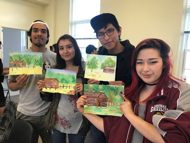 Thomas, Aliyah, Jase, and Fawn show their finished paintings from the Watercolor Painting Workshop.