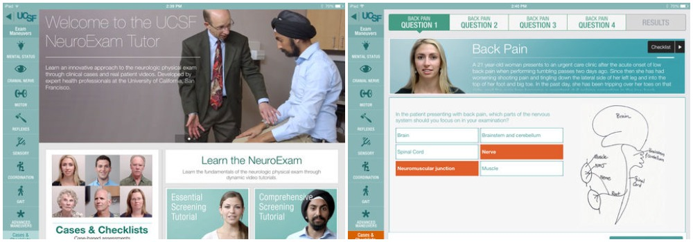 UCSF NeuroExam Tutor screenshots