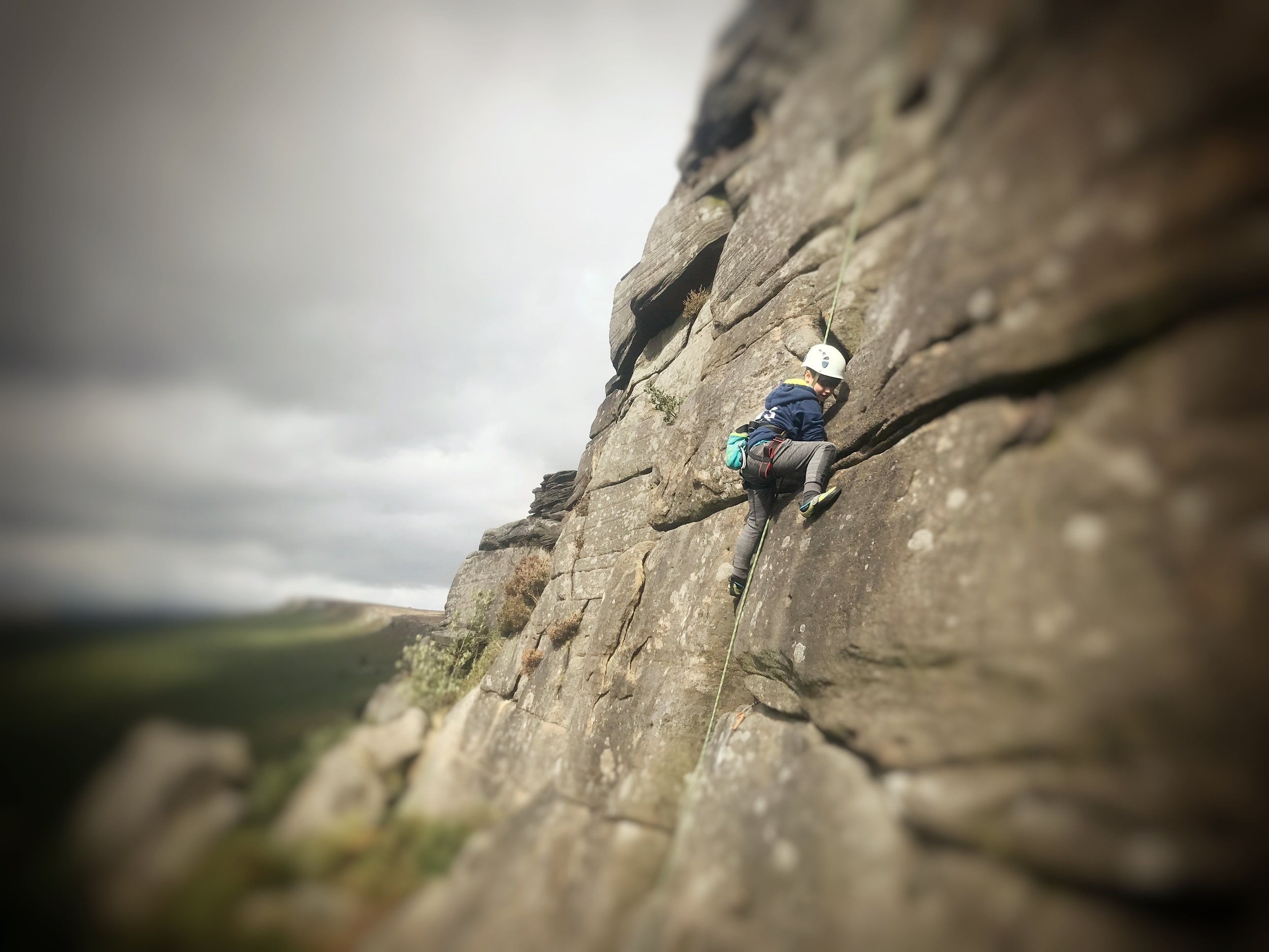 Seconding at Stanage edge, Peak District