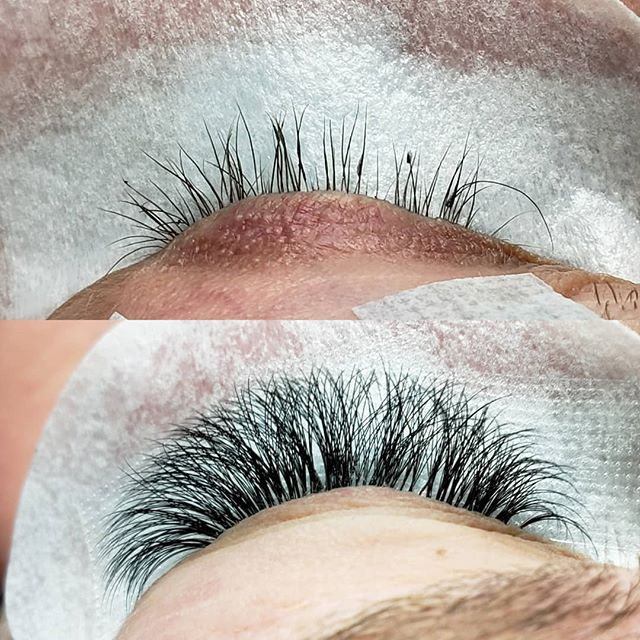 "Another new client for the glamorous set. She got tired of getting a fill every week from her old lash tech for ""volume"". She had damage from the last installs she had. I had to clean up the adhesive residue all over and blessed her with a new set. Used thinner lashes (0.3s & 0.5s).. specially on the tiny ones. Fyi..Some of the natural lashes aren't visible cause of the lid blocking the view. I only used 8-12mm lengths. It looks longer cause it's enlarged for the picture. Book the glam volume. It still natural, just fuller than the supreme classic set 🤗"