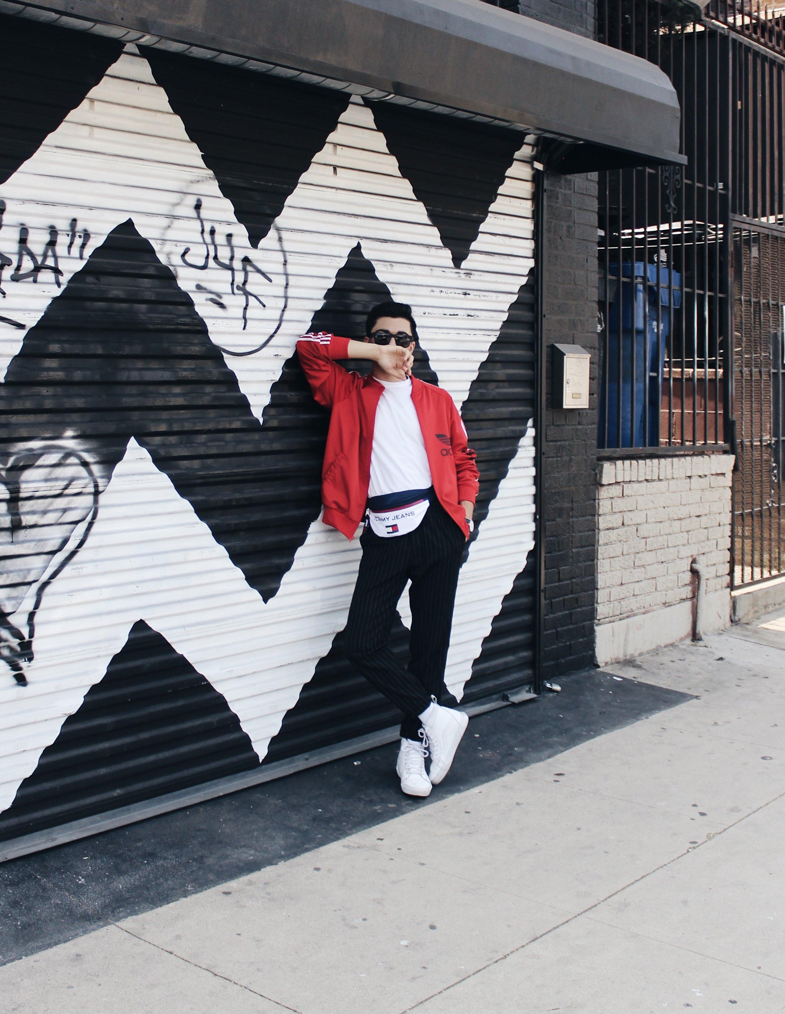 Jacket: Vintage  Adidas  (similar one linked) / Pants:  Urban Outfitters  / Tee:  Stafford  / Belt bag:  Tommy Jeans  / Shoes:  Vans  / Sunglasses:  Proof Eyewear  / Watch:  Daniel Wellington