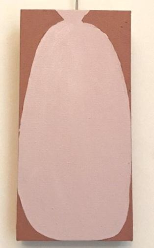 Vasija (rosado sobre rojo) Acrílico sobre lienzo 17 x 35 2019