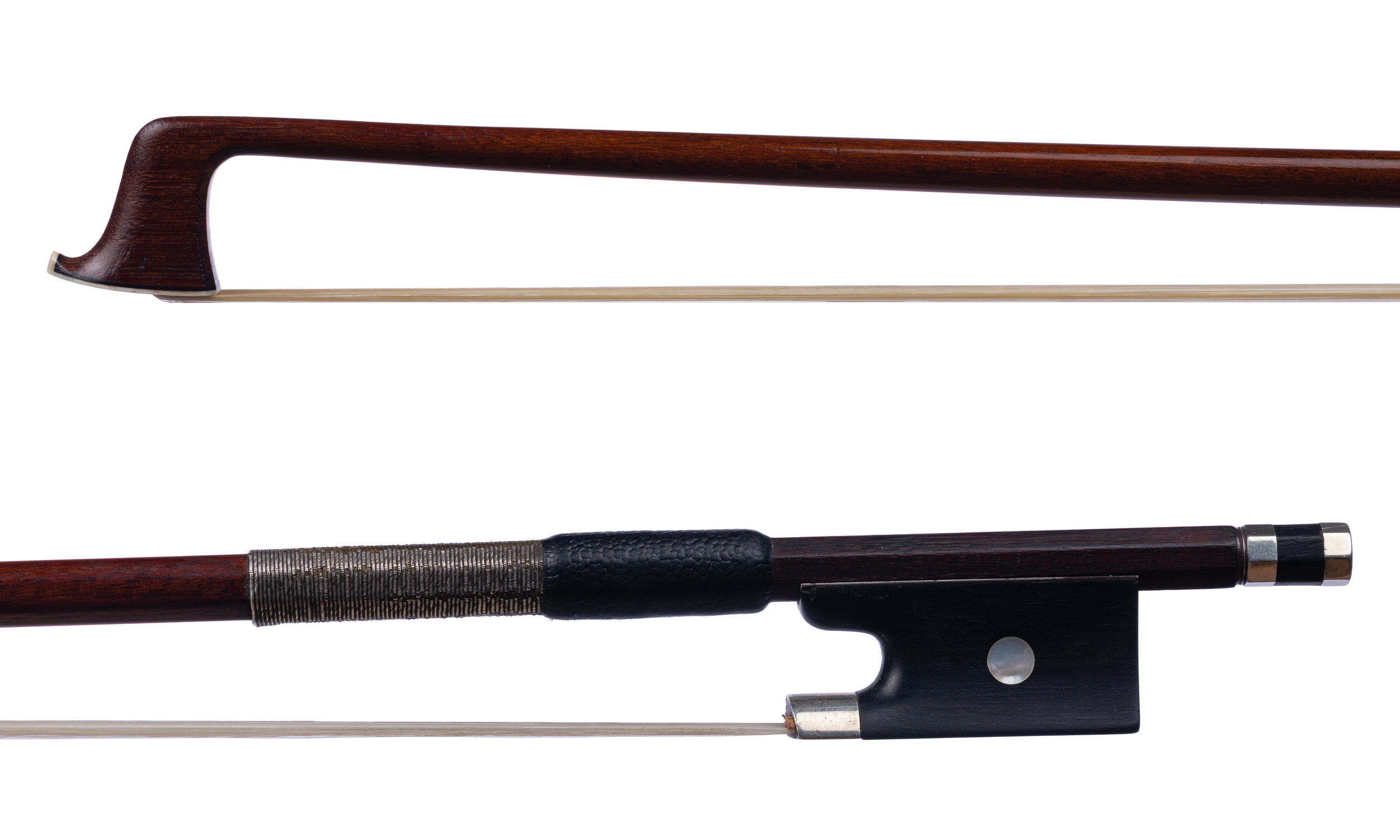 Unstamped German Violin Bow with a tinsel wrap - Silver-mounted ebony frog