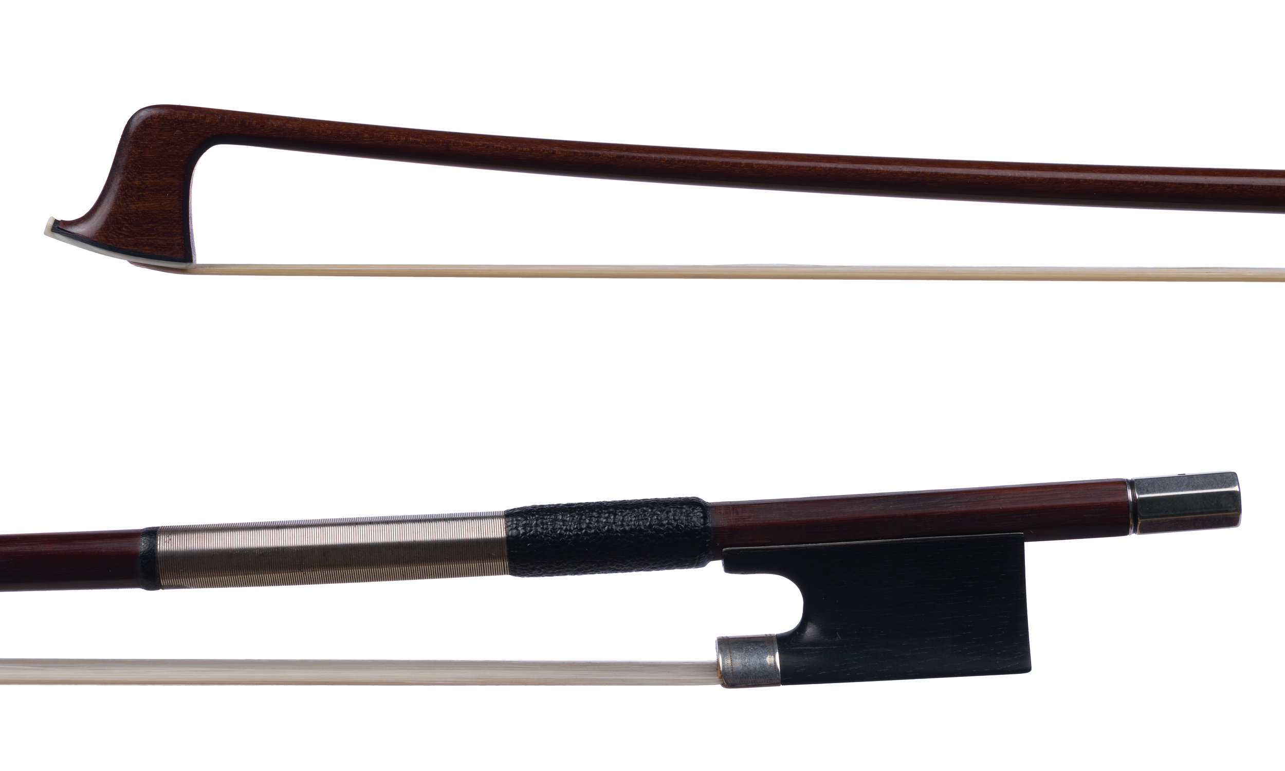 Unstamped German Violin Bow - Silver-mounted ebony frog