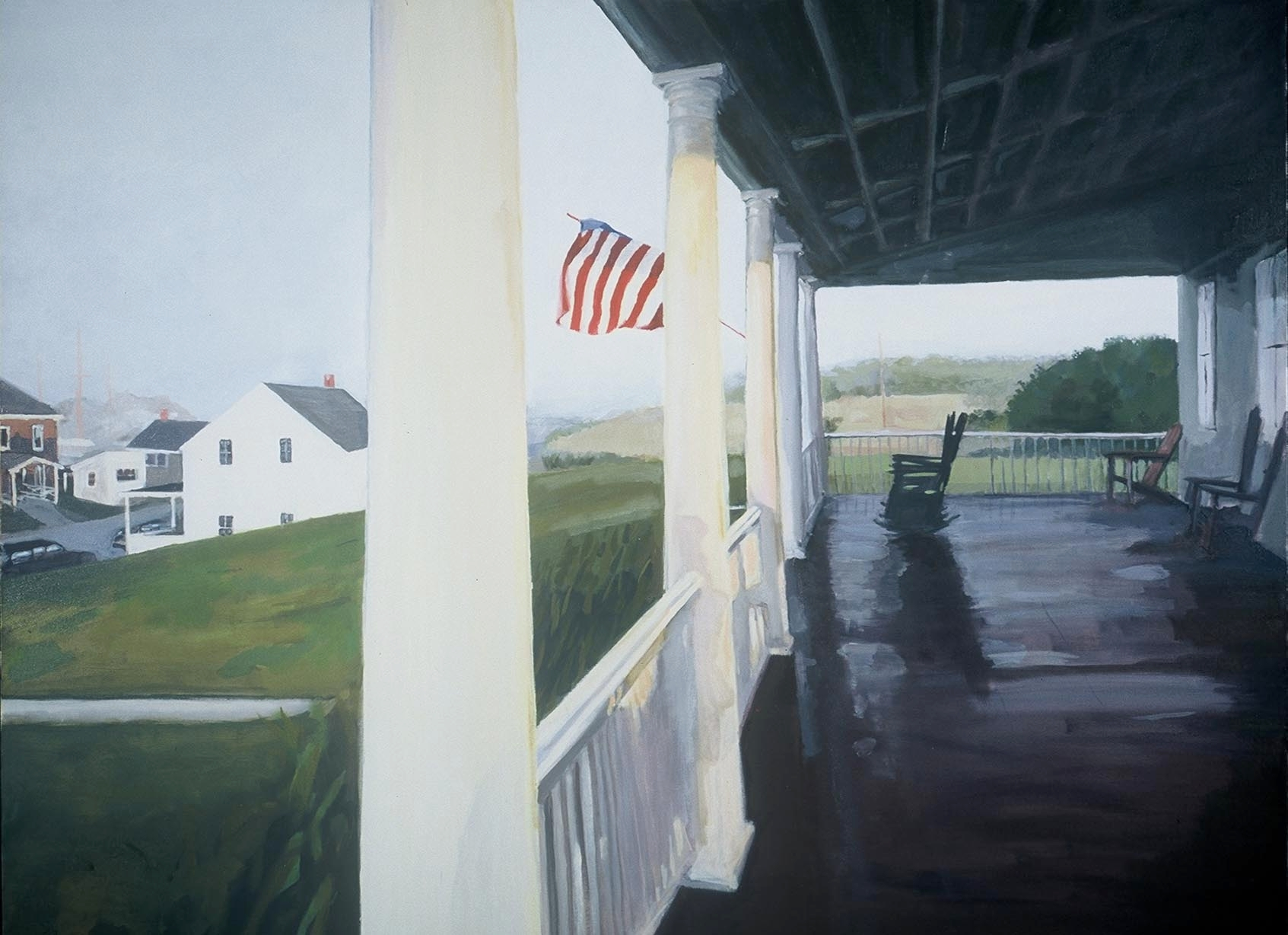 Naragansett Porch, Oil on Canvas, 48x36""