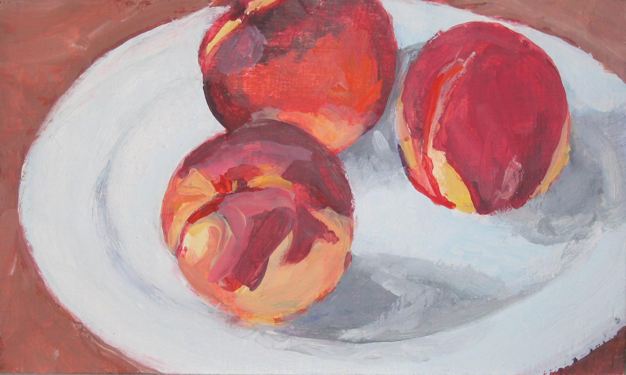"Peaches, Oil on Wood Block, 6x10"""