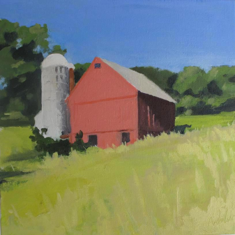 Hale Barn III, Oil on Canvas, 12x12""