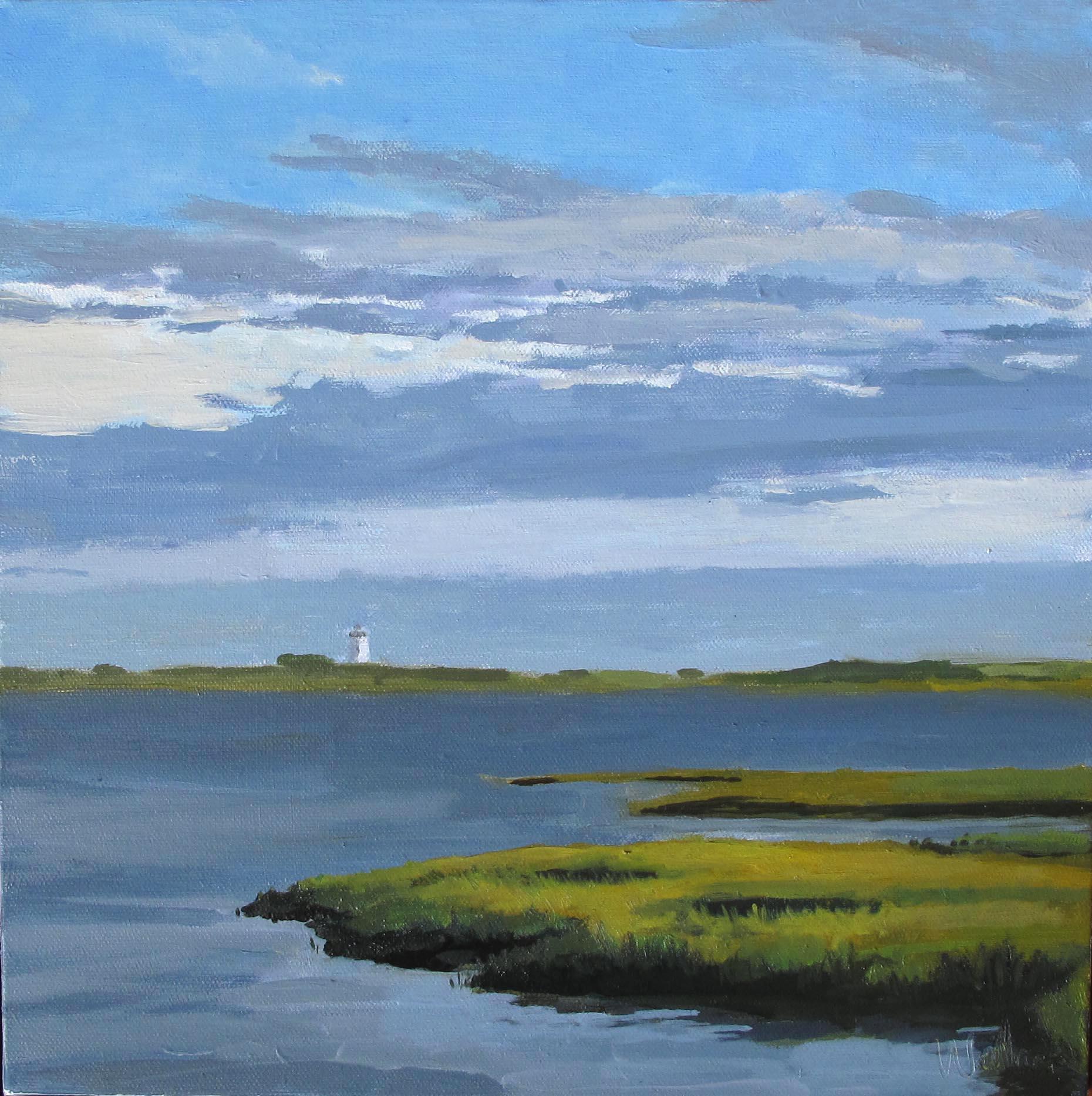 "long Point Light House, Oil on Canvas, 16x16"""