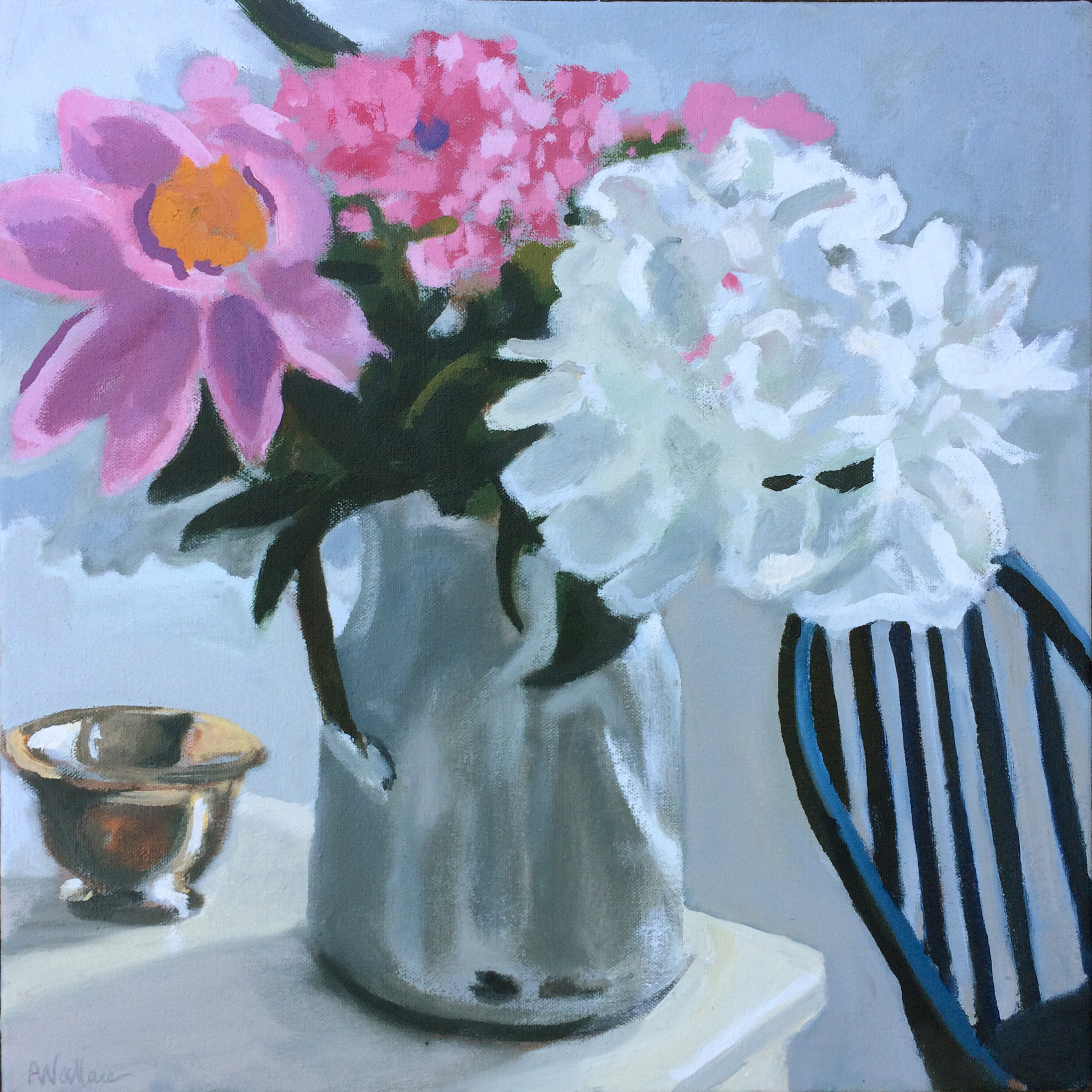 Peonies, Oil on Linen, 12x12""