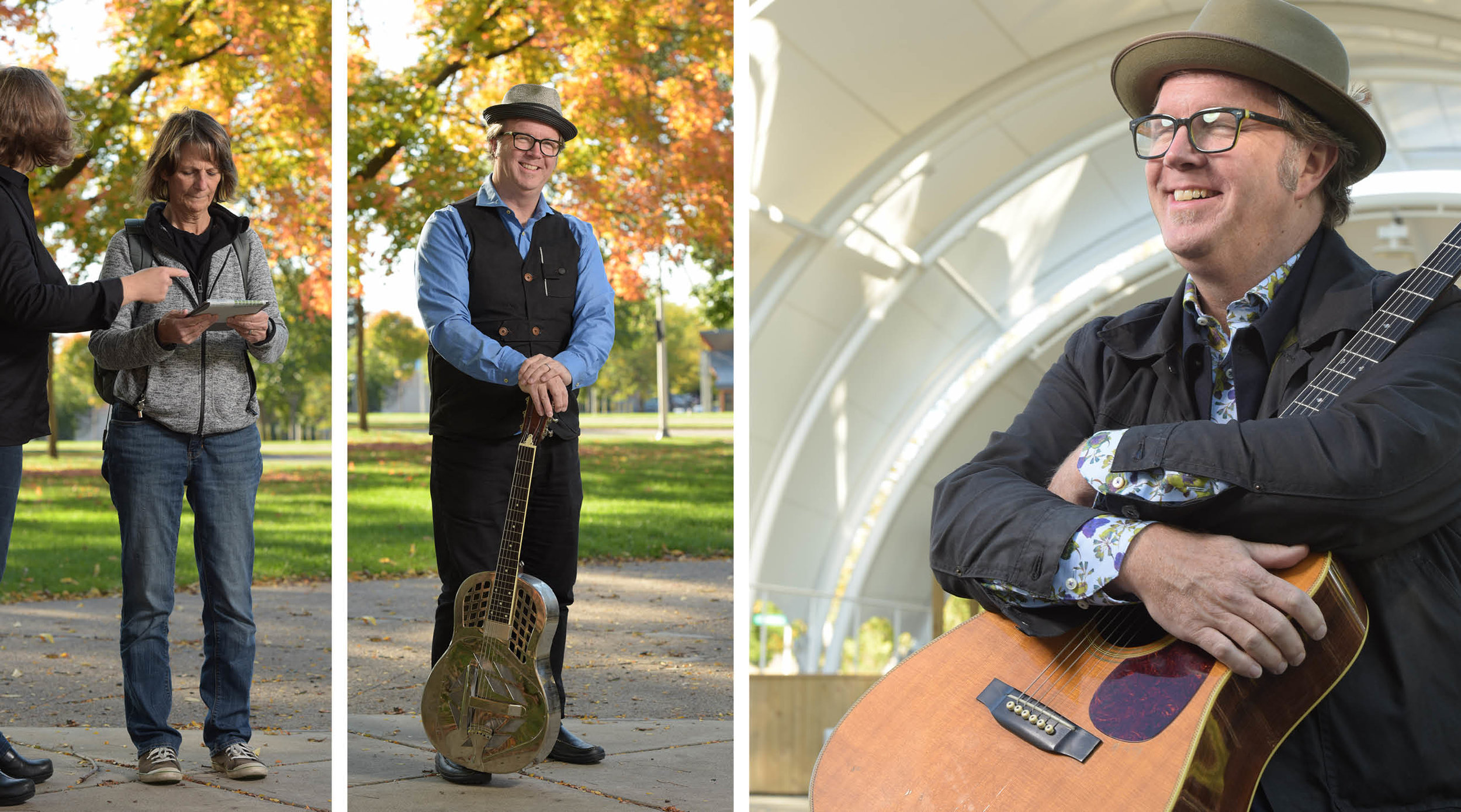 Kathy & I doing some test shots; Tim Houlihan with his steel guitar; a possibility for the cover.