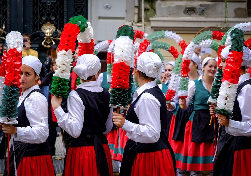 Traditional Basque dancers at the Laurak Bat festival of Buenos Aires, Argentina