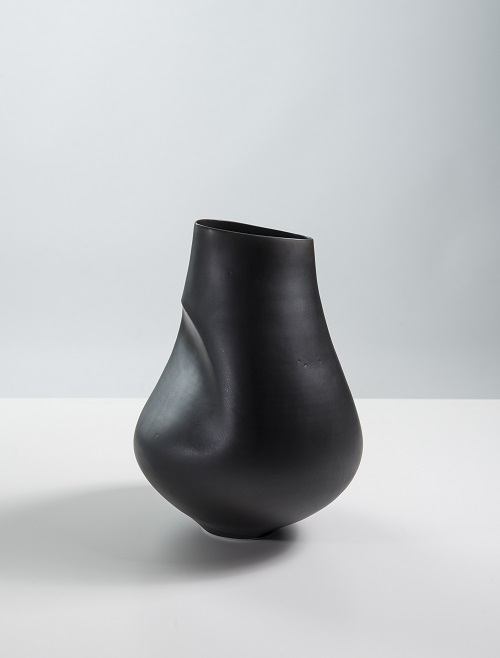Sara Flynn, Camber vessel, Thrown and altered porcelain, manganese-rich glaze, 2015