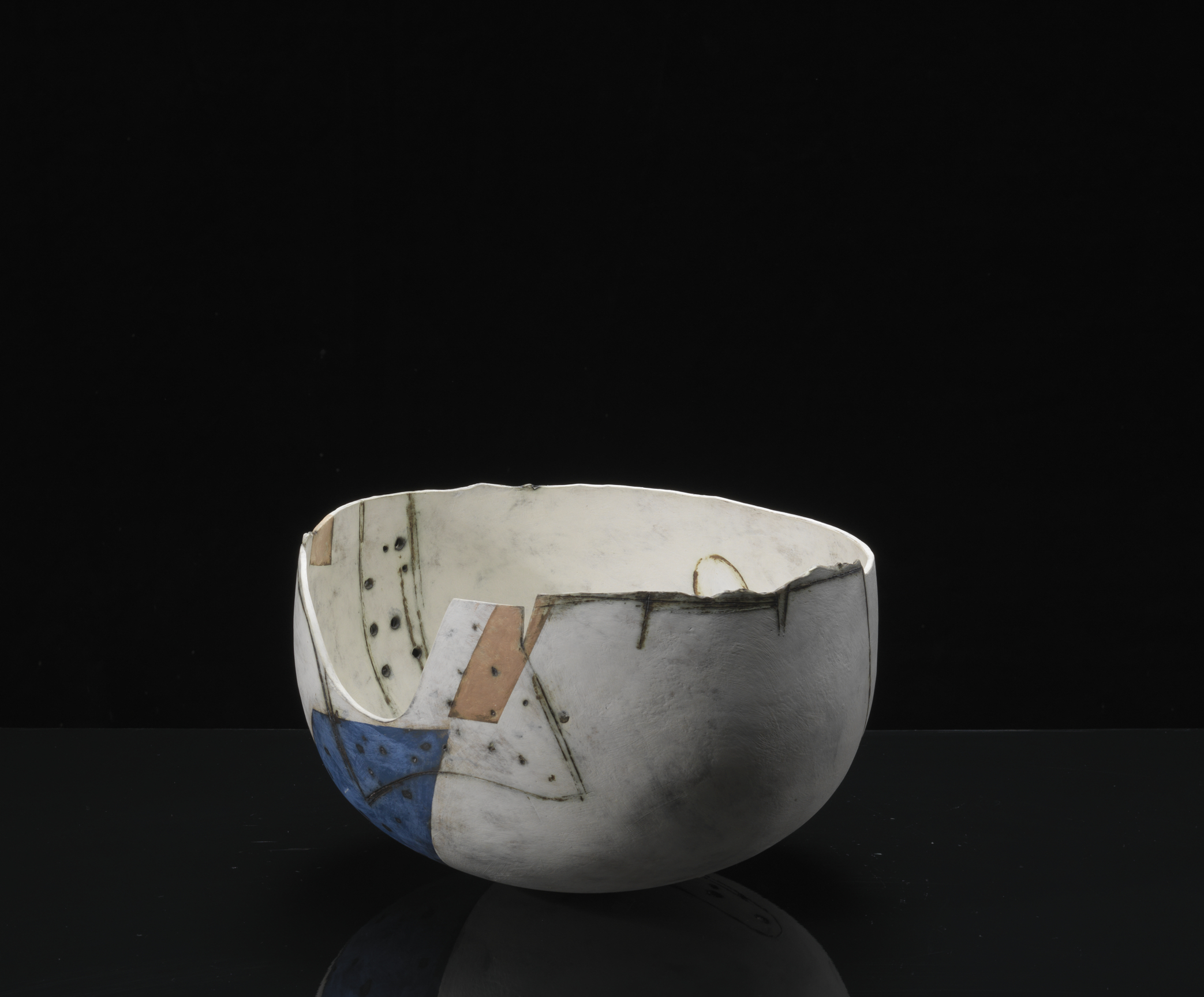 image: Gordon Baldwin, Painting in the Form of a Bowl, Earthenware (19 x 31cm), 1984.  Courtesy of Erskine, Hall & Coe Ltd. Photography by Michael Harvey