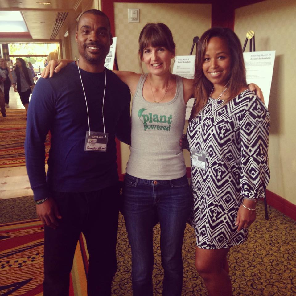 Lorelei with bodybuilding champion Kenneth G. Williams and Olympic skier Seba Johnson, both vegan (Seba has been vegan from the womb)!