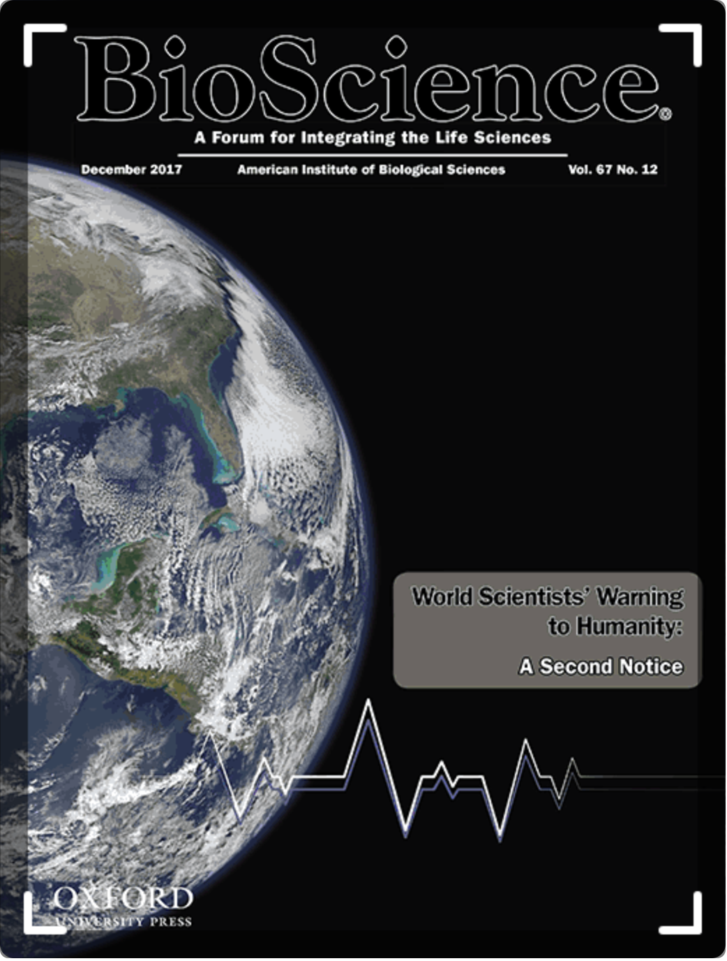 """""""World Scientists' Warning to Humanity: A Second Notice"""" was published in the journal BioScience in November 2017 with 15,372 signatories from a range of scientific disciplines (thought to be the largest-ever formal support by scientists for a journal article)."""