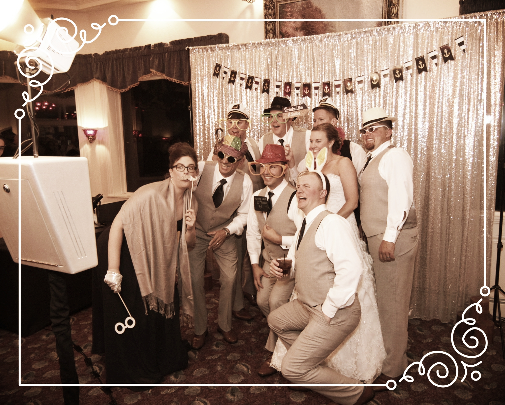 Our Modern PhotoBooth is a great way to have lots of guests in the Picture!
