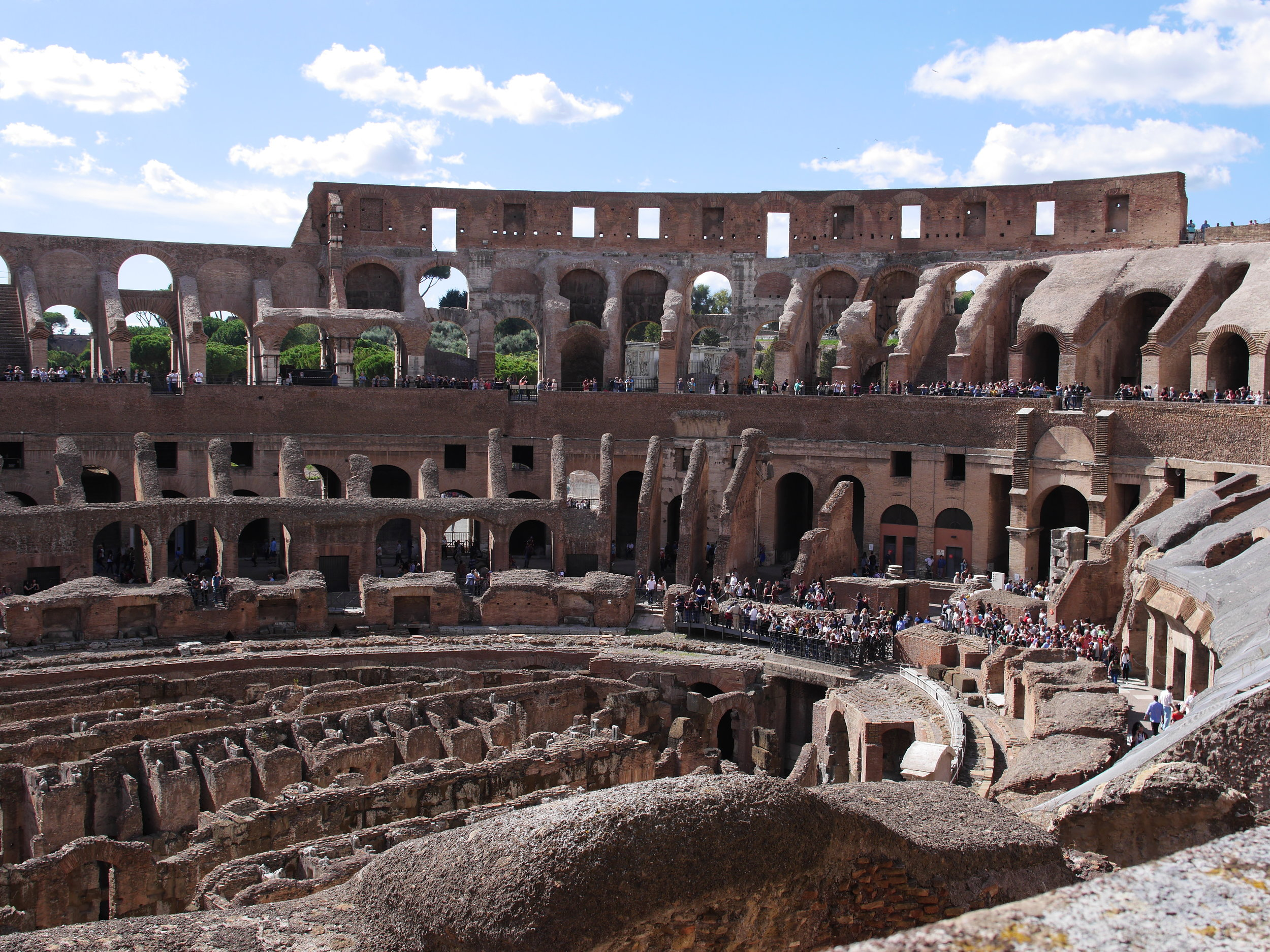 Inside of the Coliseum in Rome, Italy