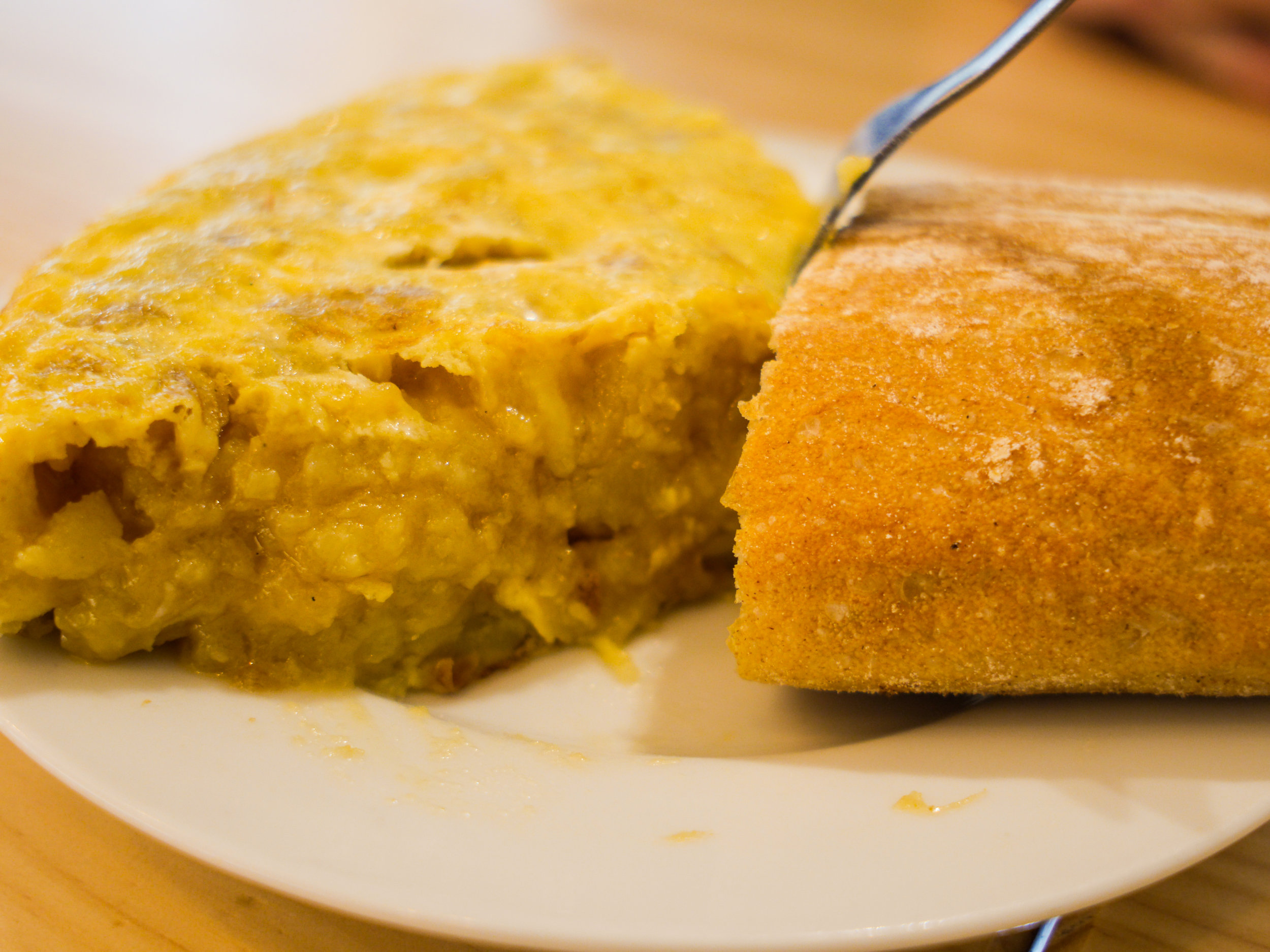 Authentic Spanish tortilla/omelet at Cafeteria Restaurante Casa Dani in Madrid, Spain