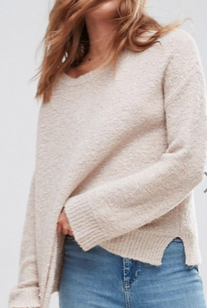 Jumper With Slash Neck In Boucle Yarn.png