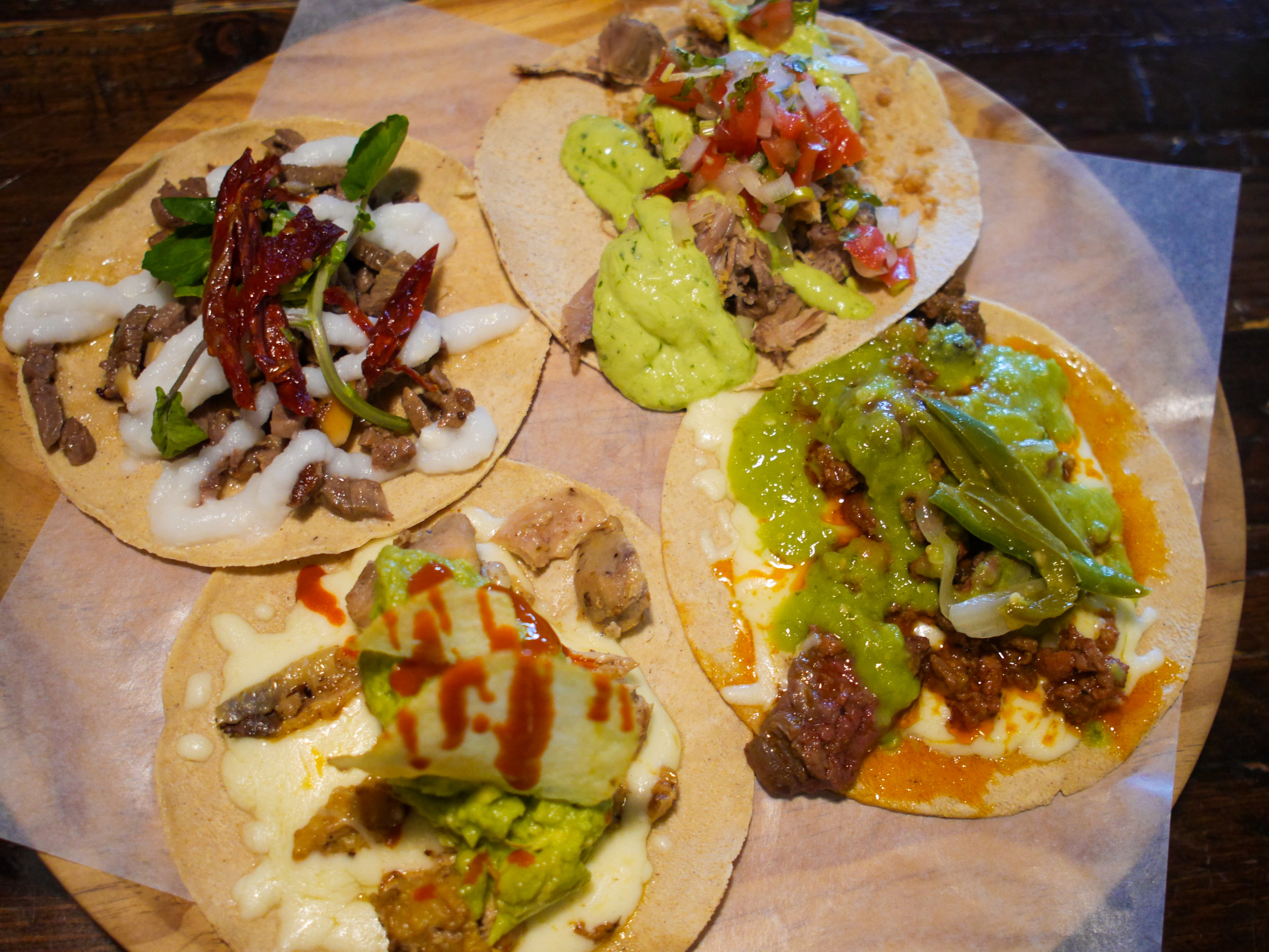 Selection of tacos at Pikio Taco in Barcelona, Spain