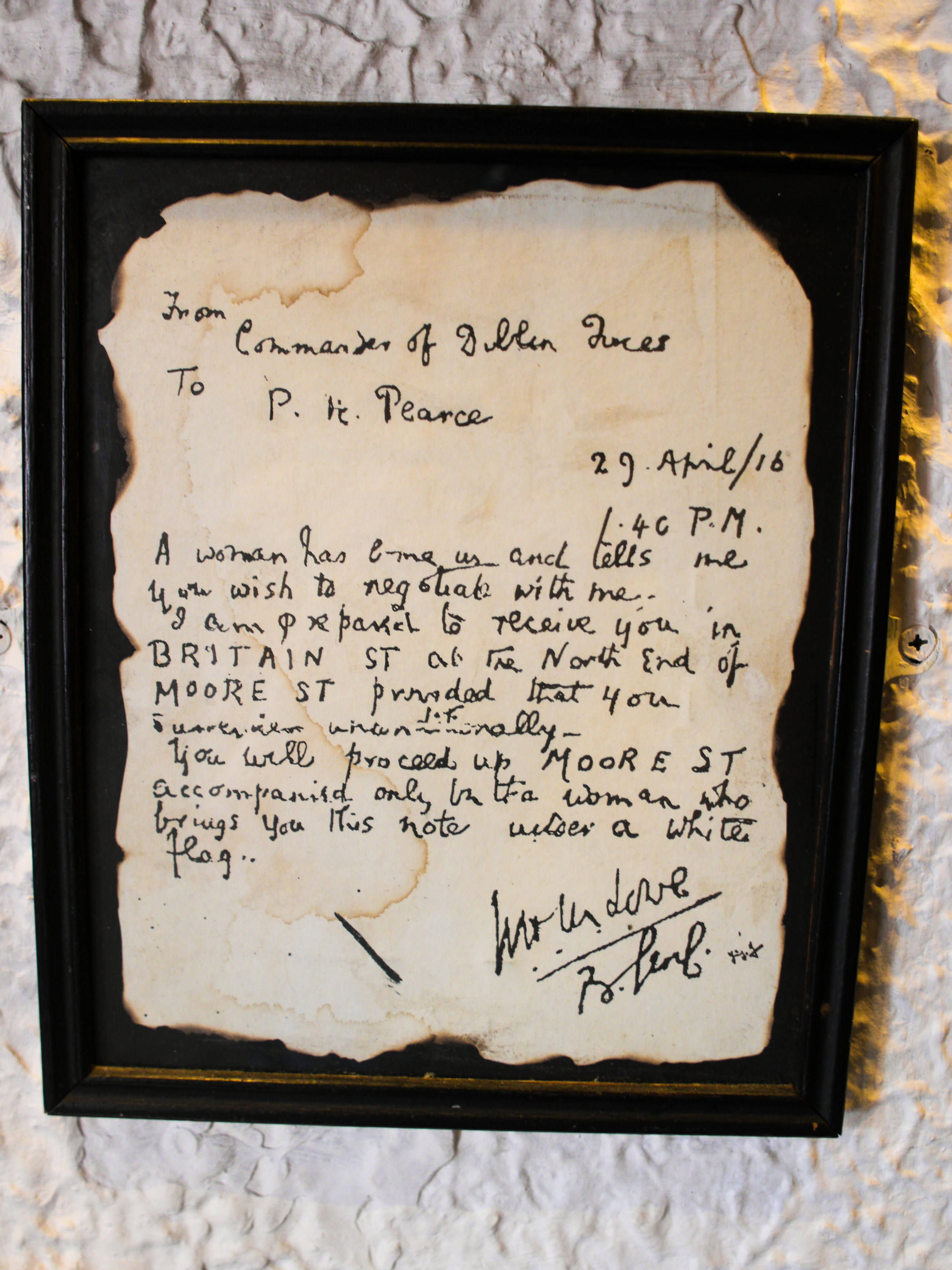 Letter to Patrick Pearse from the Commander of Dublin Forces at Johnnie Fox's Museum at Johnnie Fox's Pub