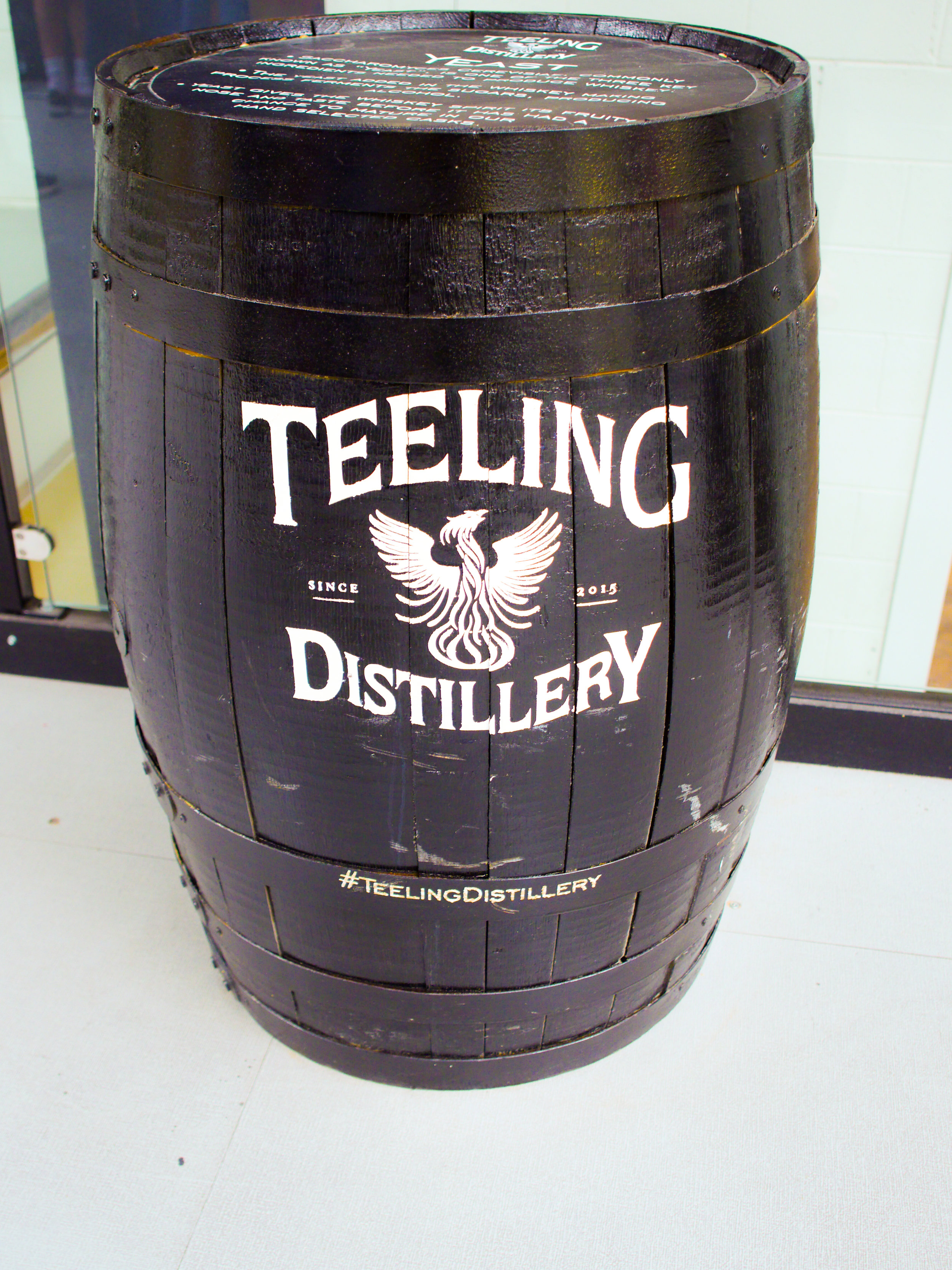 Whiskey barrel at Teeling Distillery in Dublin, Ireland