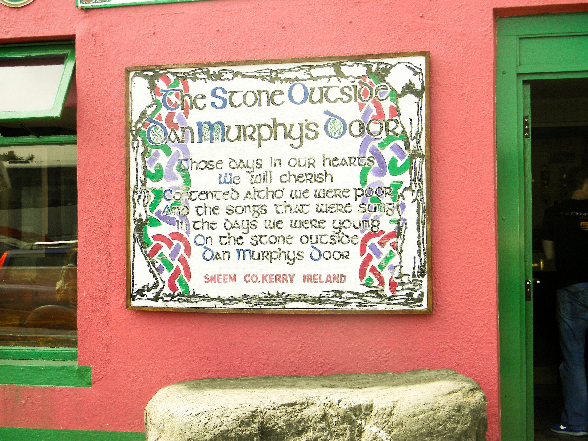 The Stone Outside Dan Murphy's Door in Sneem, County Kerry, Ireland