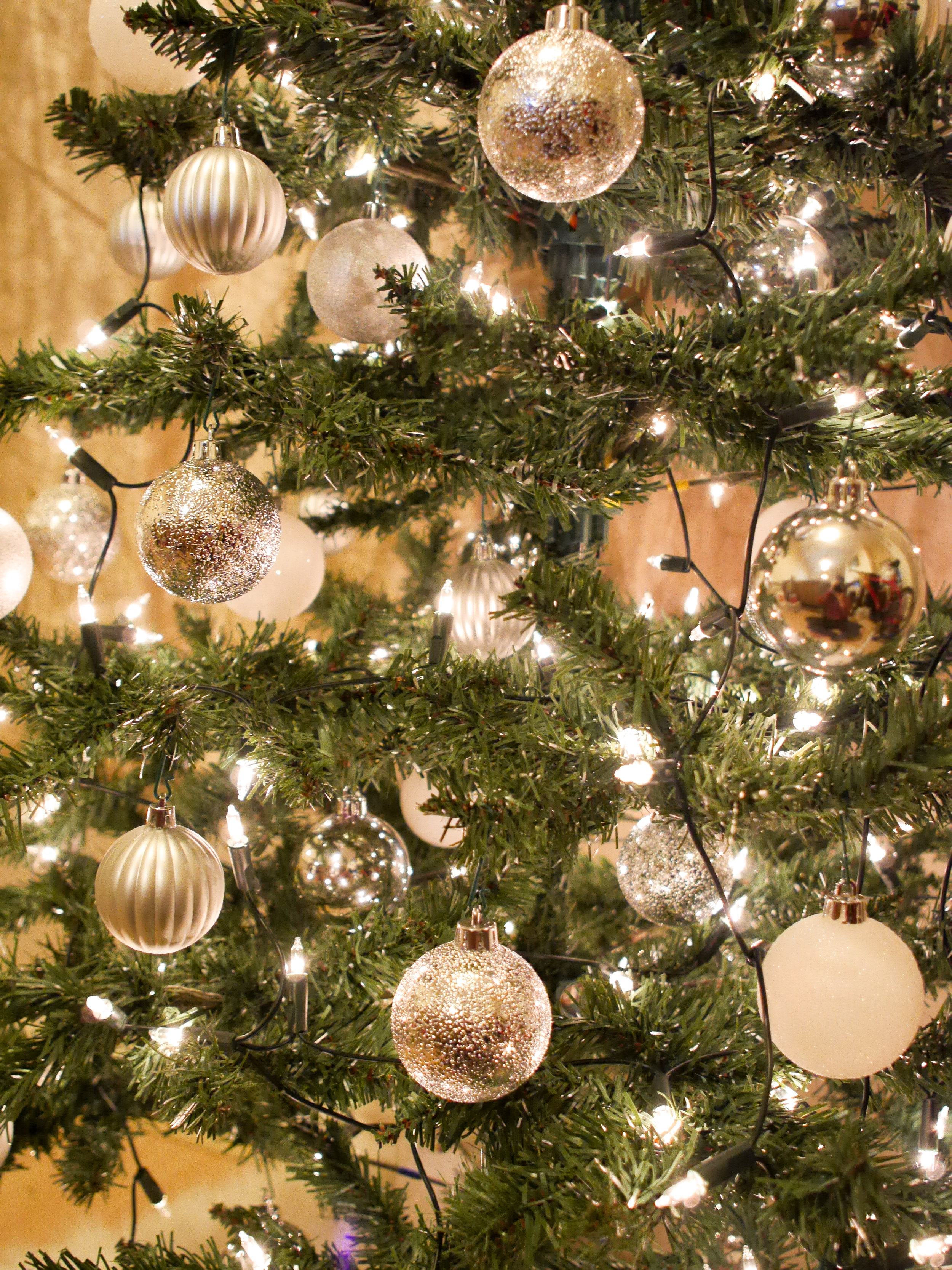 Lights and baubles on Christmas tree