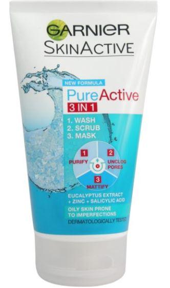 Garnier Pure Active 3 in 1 Clay Mask Scrub Wash