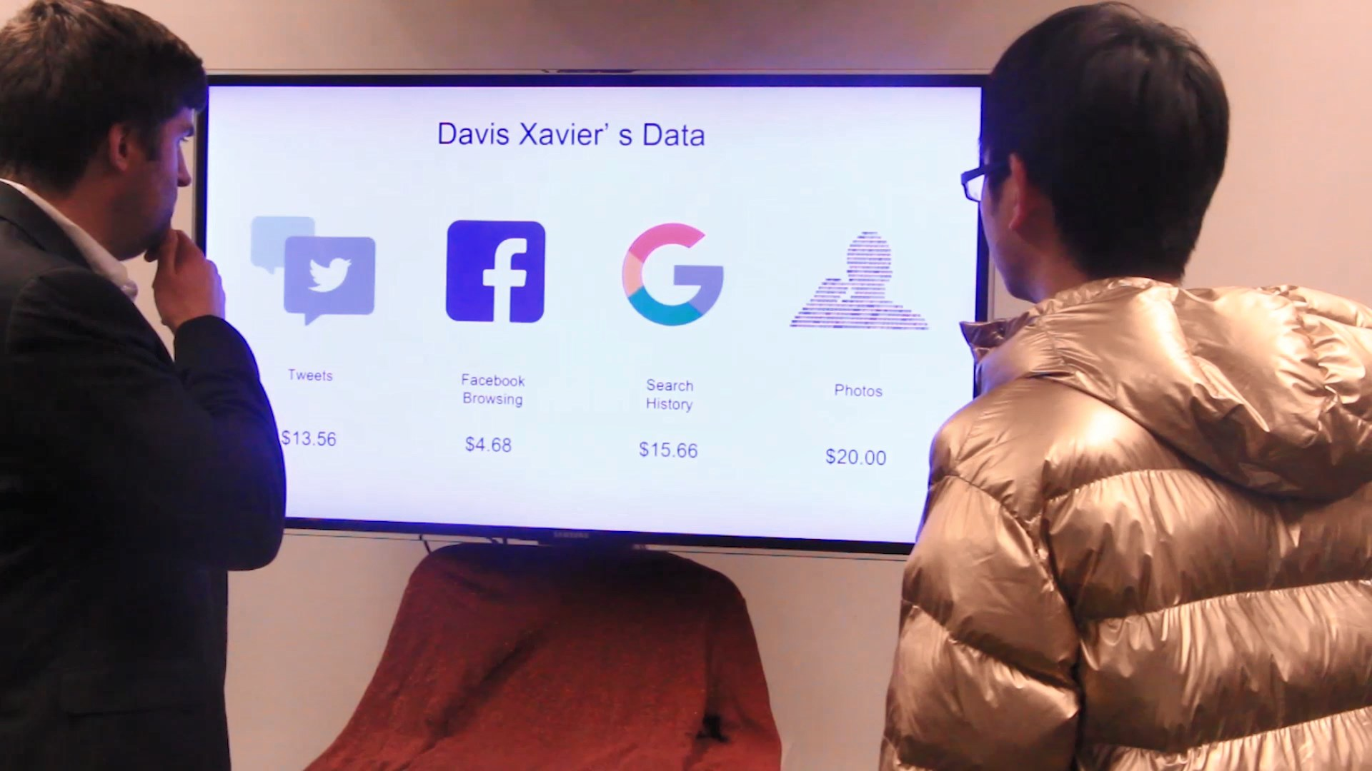 """Show the user a fantasy representation of their data being bought and sold. - This should force the user to confront this issue in a more """"real"""" way. The user will have to grapple with their own sense of powerlessness about the situation."""