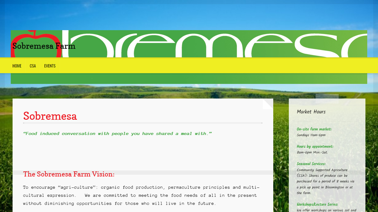 Before - The previous Sobremesa Farm website was simply built by our clients Carlos and Robert. They used Wordpress.org to create a blog site having events information and contact.