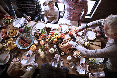 Family Around Thanksgiving Table