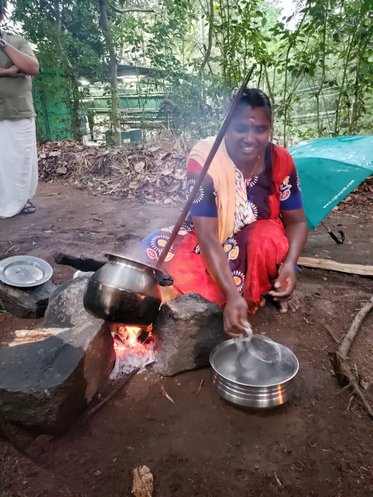 Tribal cooking demonstration at Spice Village in Thekkady.  -