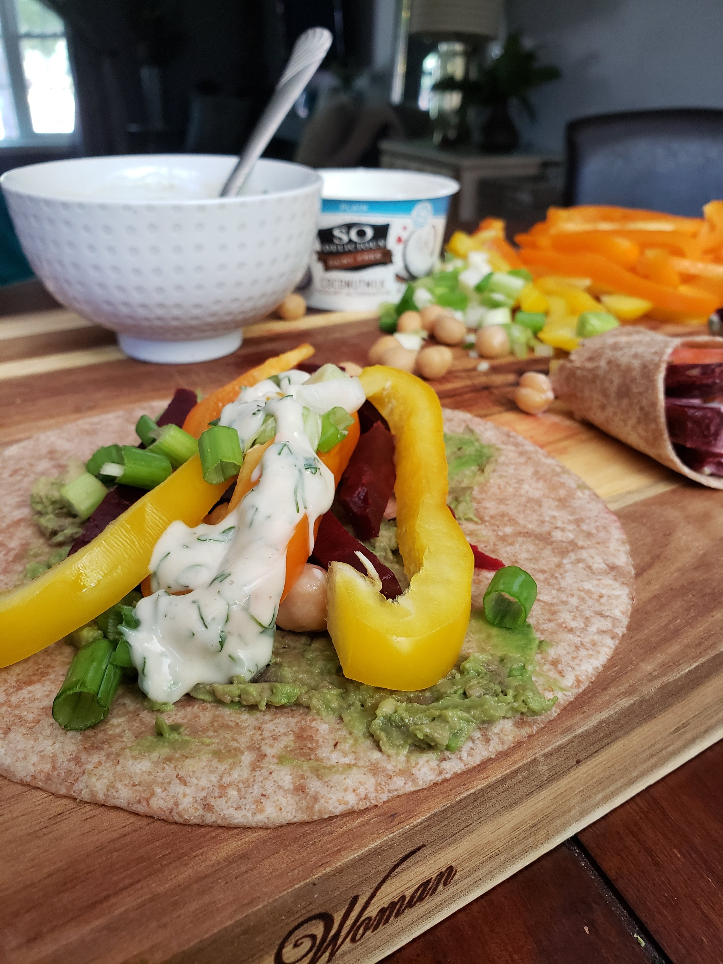 These wraps are so satisfying you would never know they were plant-based. You can use any veggies in the fridge for these as well!