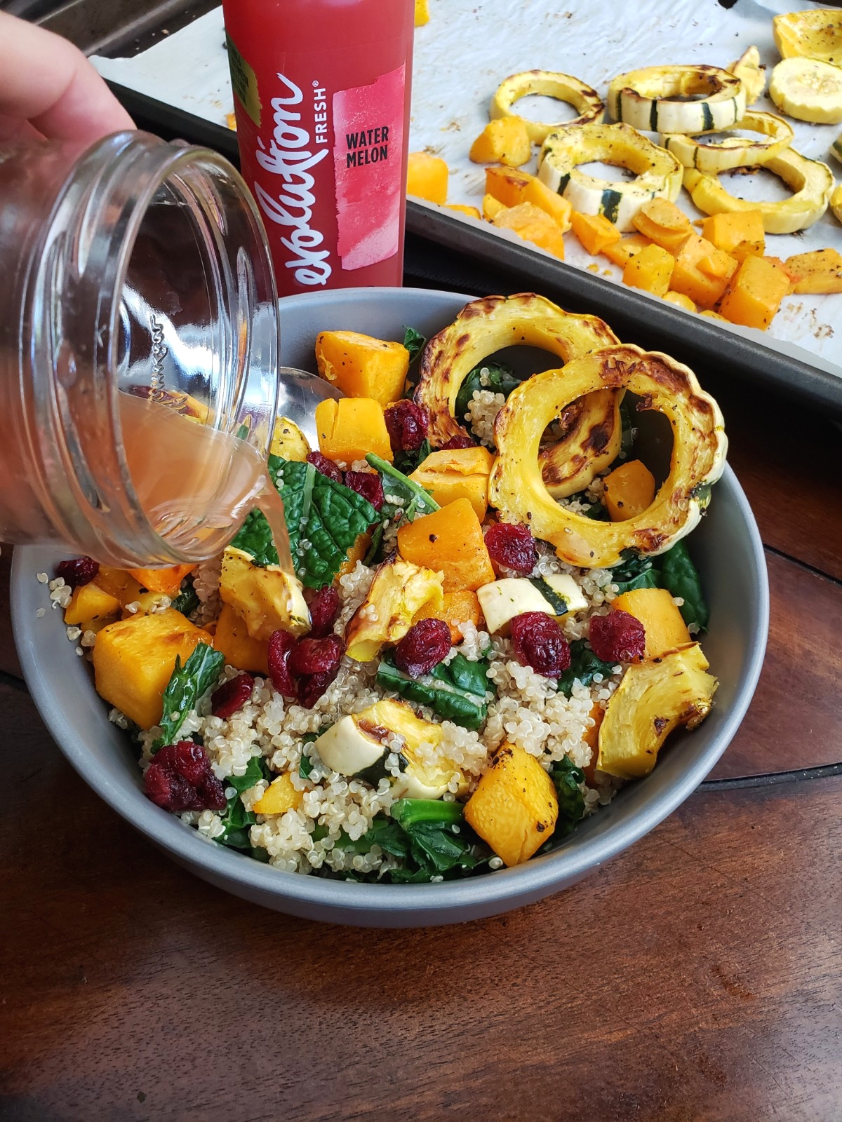 The dressing is light and won't weight you down or take away from the natural flavors of the squash. It's citrusy and lightly sweetened.