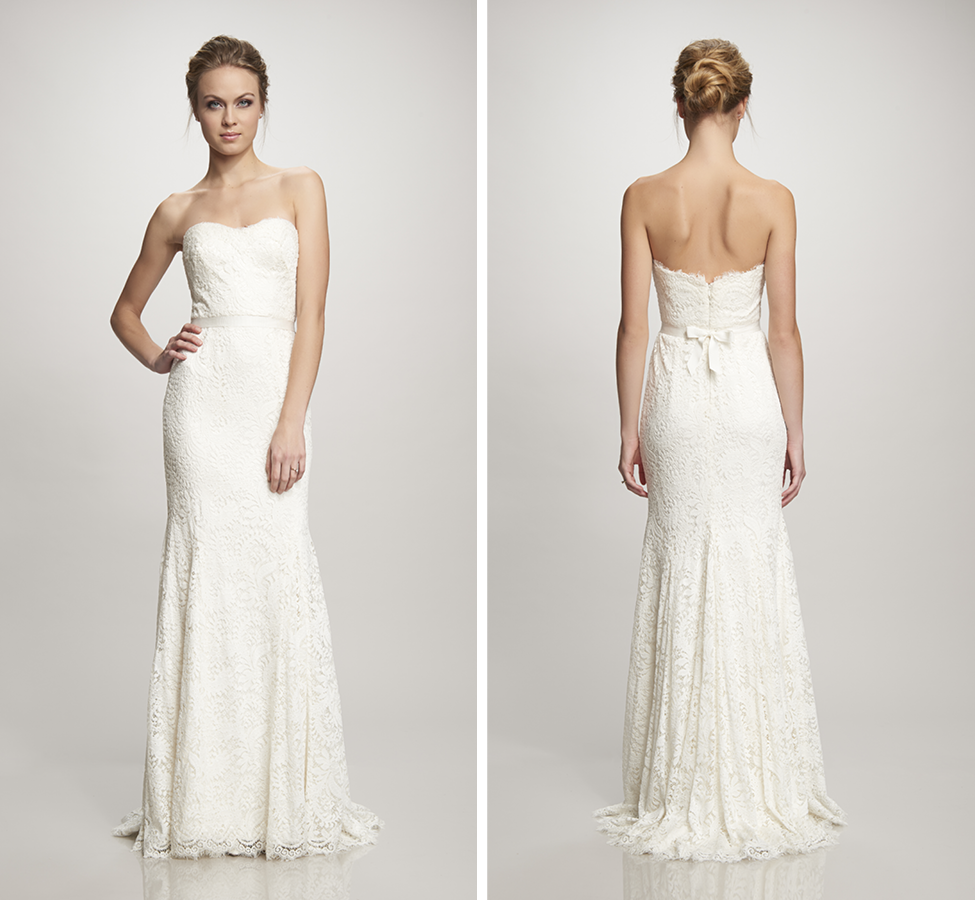 Strapless lace gown with sweetheart neckline; Super soft and lightweight with eyelash edge and sweep train (2 in-stock) Off White  |  Street Size: 8 & 18  NOW: $1329
