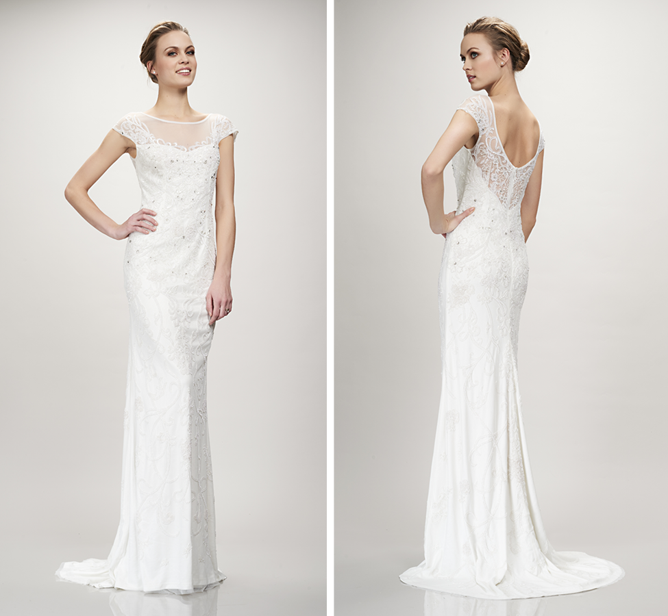 Gorgeous hand embroidered sheath style gown with cap sleeves and bateau illusion neckline; Comfortable stretch lining with sweep train (2 in-stock) Ivory  |  Street Size: 10/12 & 16/18  NOW: $1599